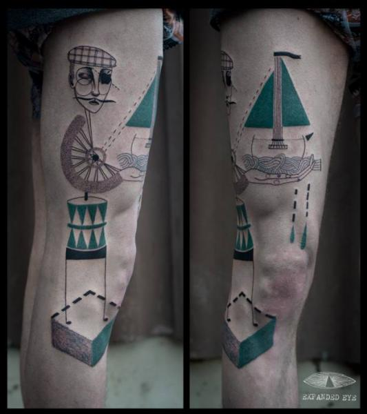 Fantasy Leg Geometric Men Tattoo by Expanded Eye