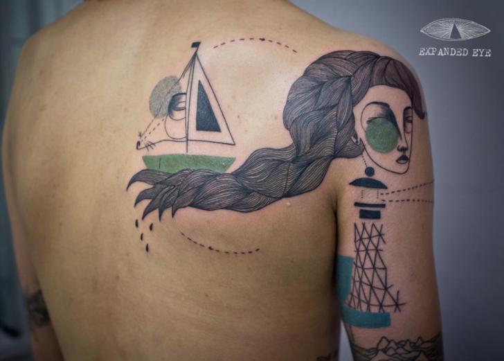 Shoulder Women Back Geometric Ship Tattoo by Expanded Eye