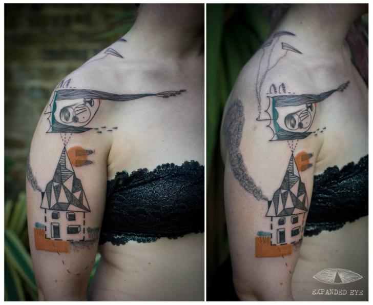 Tatuaje Hombro Fantasy Geométrico Casa por Expanded Eye