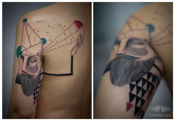 Tatuaje Hombro Geométrico Hombres por Expanded Eye