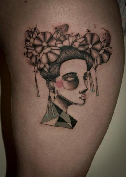 Fantasy Women Thigh Tattoo by Expanded Eye