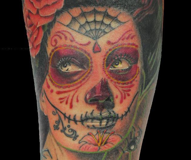 Arm Mexican Skull Tattoo by Seven Arts