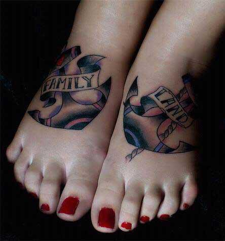 New School Foot Anchor Tattoo by Seven Arts