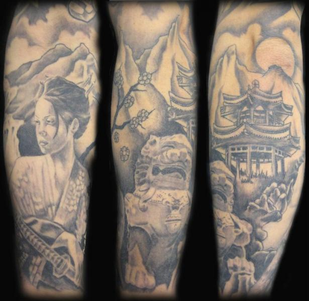 Arm Japanese Geisha Landscape Tattoo by Blood Line Tattoos