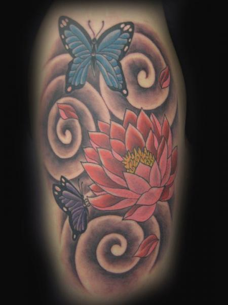 Flower Japanese Butterfly Tattoo by Blood Line Tattoos