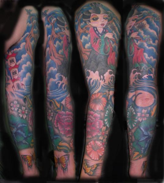 Japanese Women Landscape Sleeve Tattoo by Blood Line Tattoos
