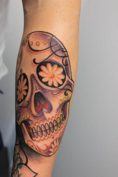Arm Skull Tattoo by Cesar Lopez Tattoo