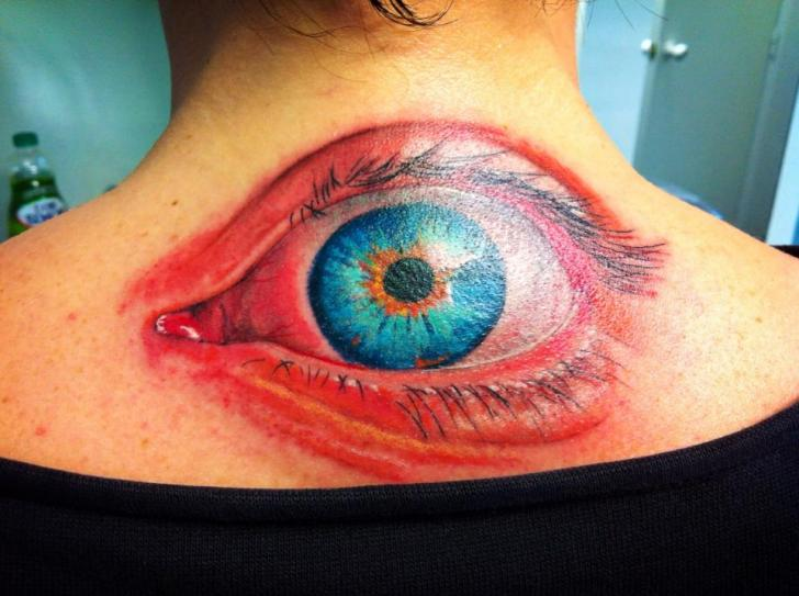 Back Eye Tattoo by Cesar Lopez Tattoo
