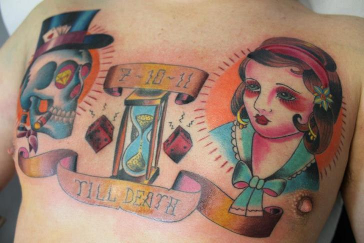 New School Chest Skull Women Clepsydra Tattoo by Cesar Lopez Tattoo