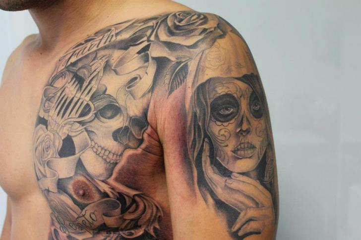 Shoulder Chest Mexican Skull Women Tattoo by Cesar Lopez Tattoo