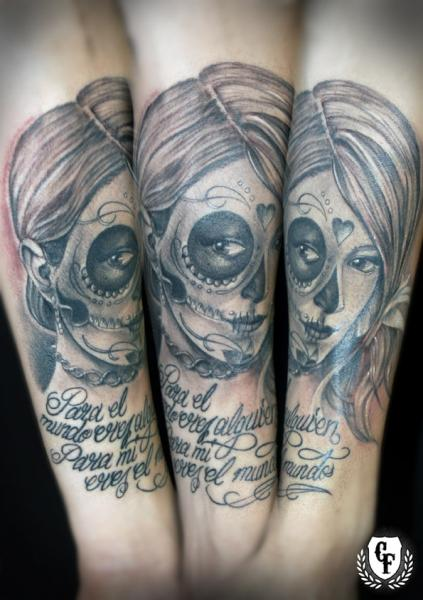 Arm Lettering Mexican Skull Tattoo by Cosa Fina Tattoo
