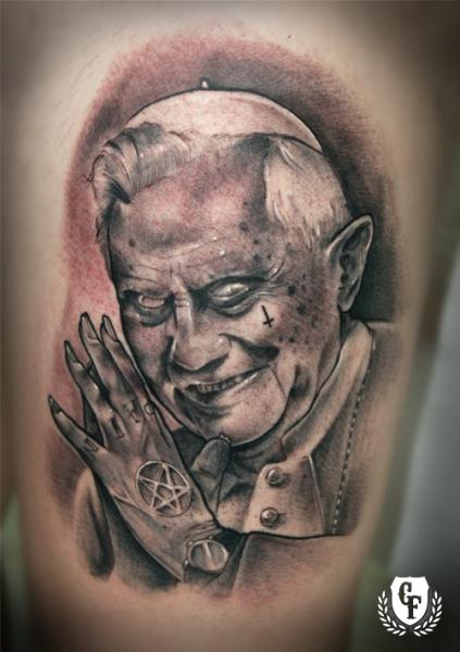 Fantasy Devil Pope Tattoo by Cosa Fina Tattoo