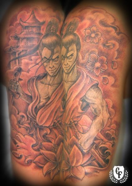 Shoulder Japanese Samurai Tattoo by Cosa Fina Tattoo