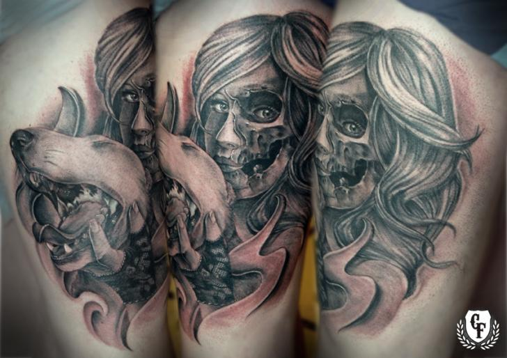 Women Dog Tattoo by Cosa Fina Tattoo
