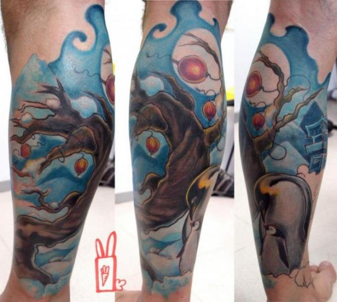 Fantasy Calf Tree Tattoo by Customiz Arte