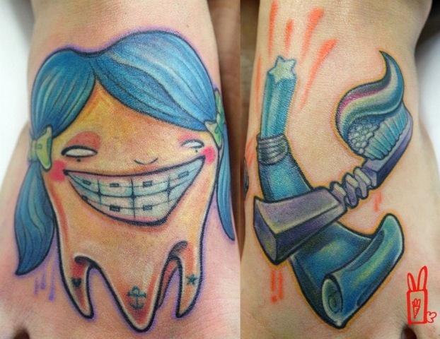 Fantasie Zahn Tattoo von Customiz Arte