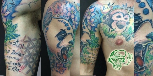 Shoulder Chest Panda Monkey Tattoo by Customiz Arte