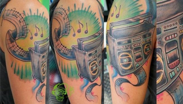 Shoulder Fantasy Stereo Tattoo by Customiz Arte