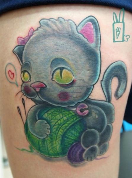 Fantasy Cat Thigh Tattoo by Customiz Arte