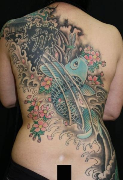 Japanese Back Carp Tattoo by Cactus Tattoo