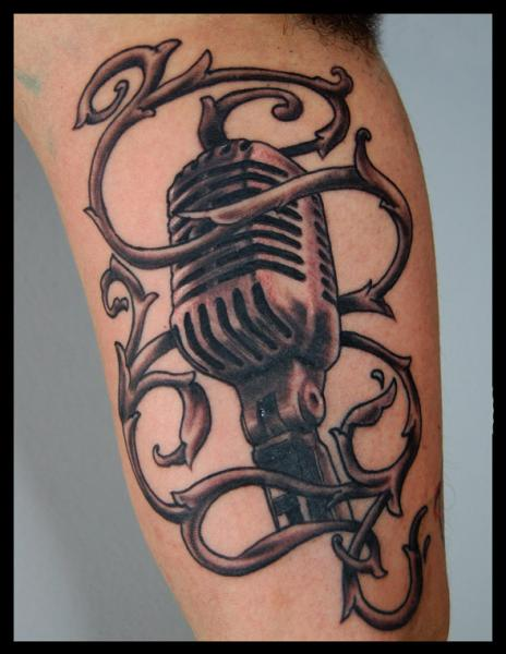 Arm Realistic Microphone Tattoo by Four Roses Tattoo