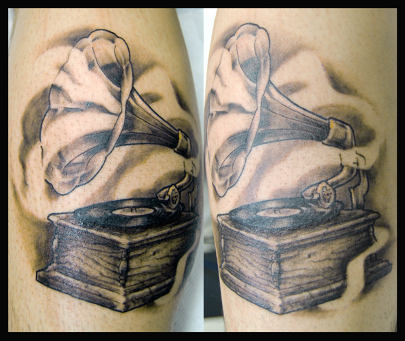 Realistic Gramophone Tattoo by Four Roses Tattoo