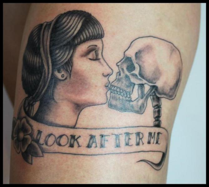 Shoulder Women Skeleton Tattoo by Four Roses Tattoo