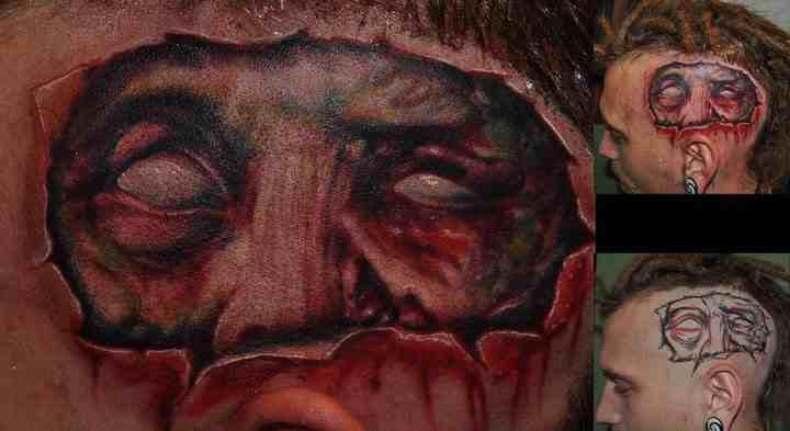 Fantasy Head Tattoo by Miguel Ramos Tattoos