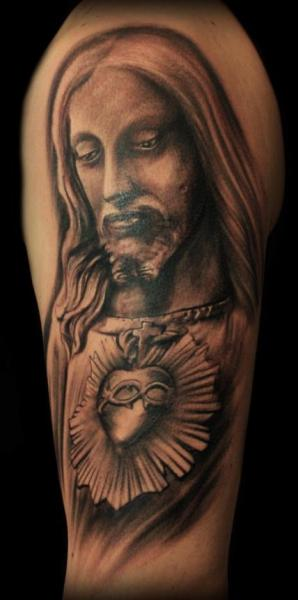 Shoulder Religious Tattoo by Miguel Ramos Tattoos