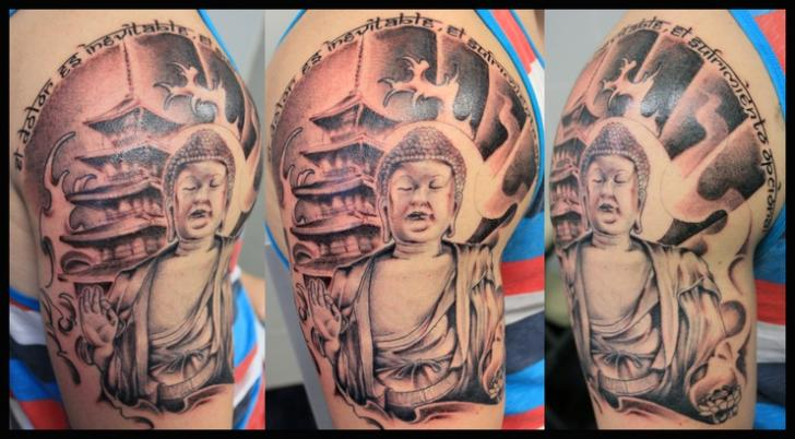Shoulder Buddha Religious Tattoo by Nautilus Tattoo Gallery