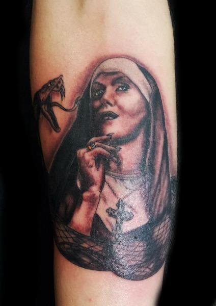 Arm Snake Nun Tattoo by Planeta Tattoo