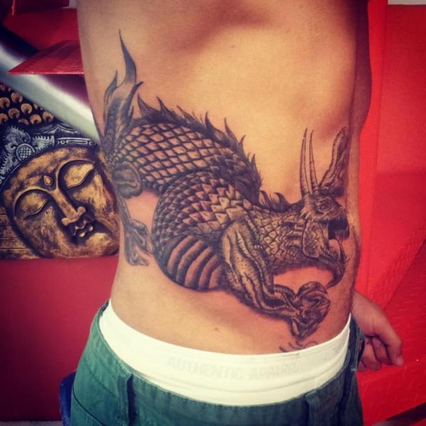 Fantasy Side Dragon Tattoo by Planeta Tattoo