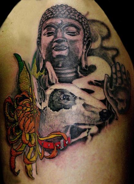 Shoulder Buddha Dog Tattoo by Sputnink Tattoo