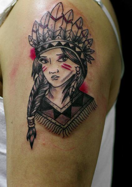 Shoulder Indian Tattoo by Sputnink Tattoo