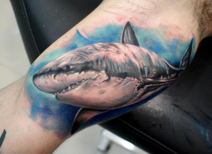 Arm Realistic Shark Tattoo by Astin Tattoo