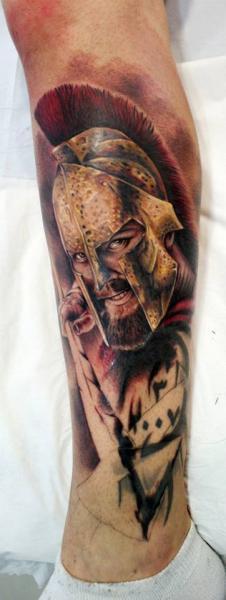 Realistic Calf Warrior Tattoo by Astin Tattoo