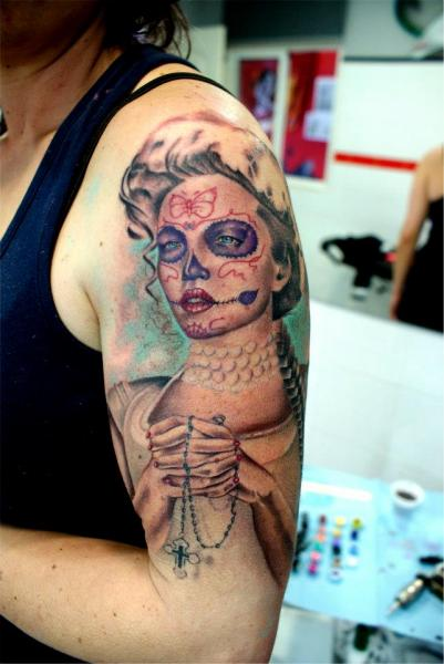 Shoulder Mexican Skull Tattoo by Astin Tattoo