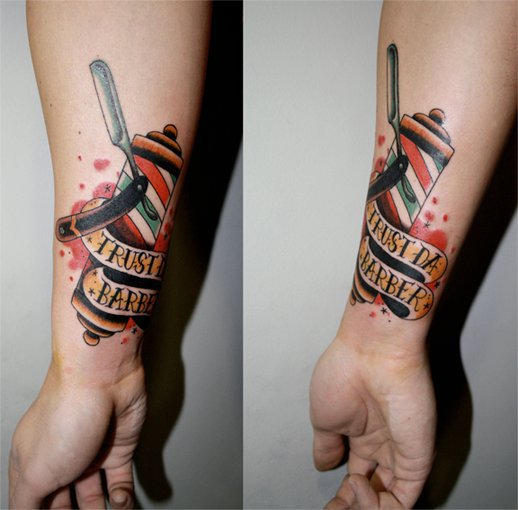 Arm Old School Barber Tattoo by La Dolores Tattoo