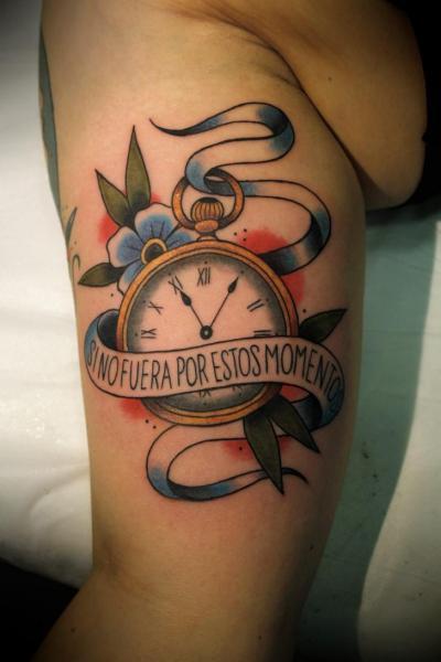 Arm Clock New School Tattoo by La Dolores Tattoo