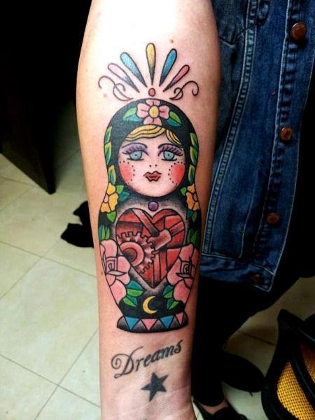 Arm New School Matryoshka Tattoo by La Dolores Tattoo