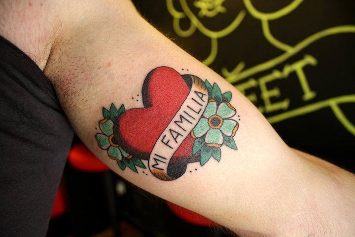 Arm Old School Heart Tattoo by La Dolores Tattoo