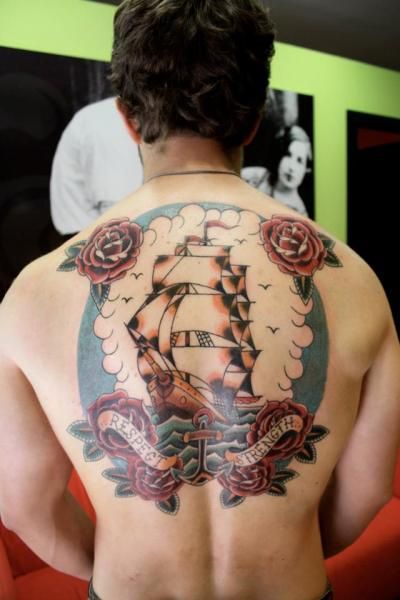 Old School Back Galleon Tattoo by La Dolores Tattoo