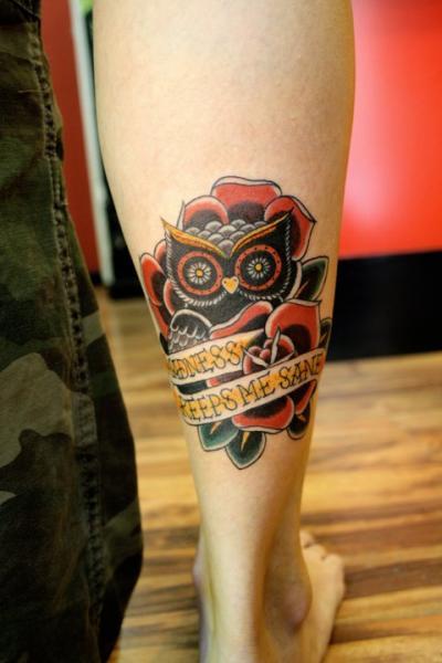 Calf Old School Owl Tattoo by La Dolores Tattoo