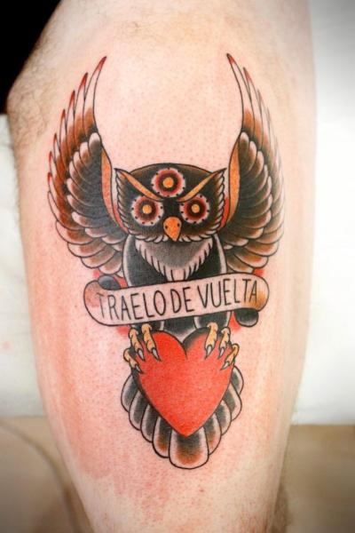 Old School Owl Thigh Tattoo by La Dolores Tattoo