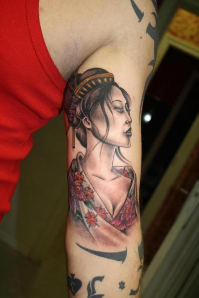 Arm Japanese Geisha Tattoo by Silver Needle Tattoo