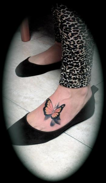 Realistic Foot Butterfly Tattoo by Silver Needle Tattoo