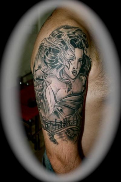 Shoulder Japanese Geisha Tattoo by Silver Needle Tattoo