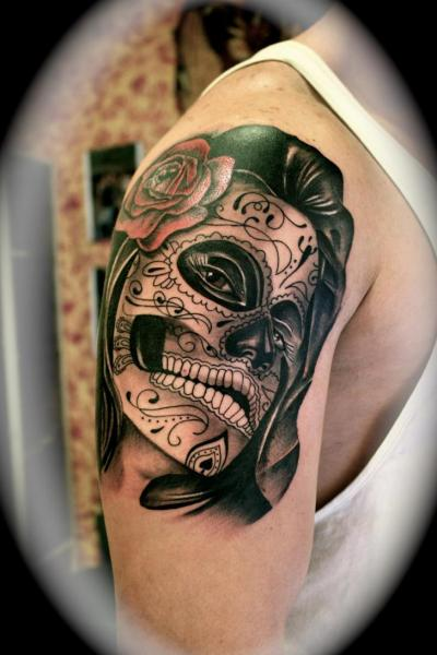 shoulder mexican skull tattoo by silver needle tattoo