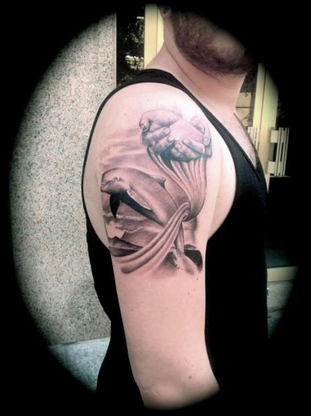 Shoulder Realistic Dolphin Tattoo by Silver Needle Tattoo