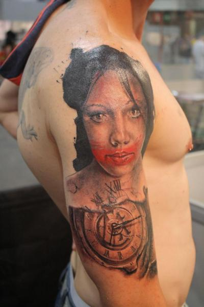 Shoulder Clock Women Tattoo by Silver Needle Tattoo